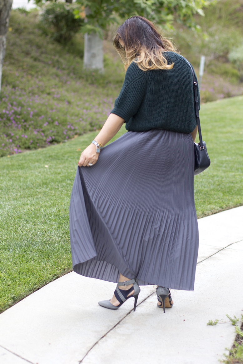 fun-green-sweater-pleated-maxi-skirt