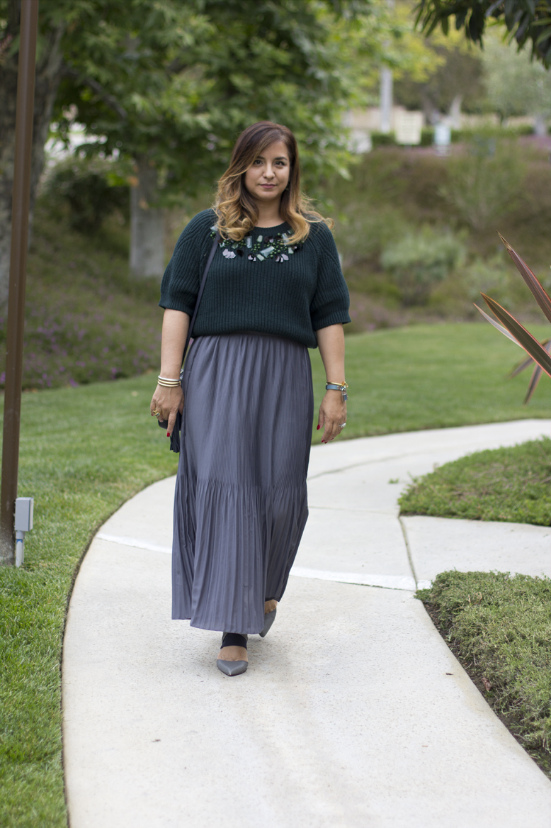 green-sweater-pleated-maxi-skirts