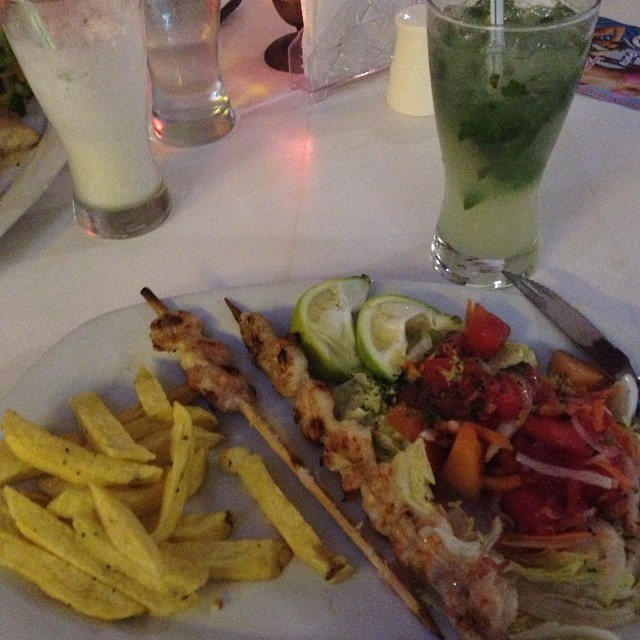 Having seafood at a restaurant in the beach in Ecuador