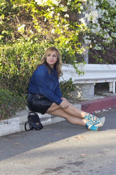 Denim and Faux Leather Skirt-12