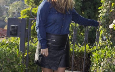 Denim and Faux Leather Skirt