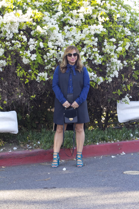 Denim and Faux Leather Skirt-4