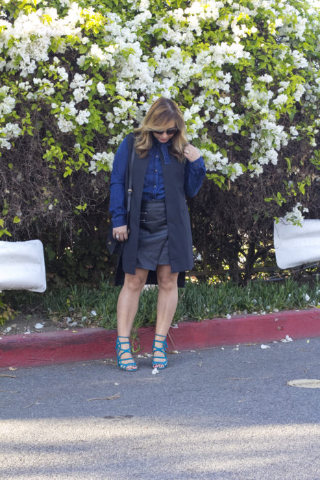 Denim and Faux Leather Skirt-6